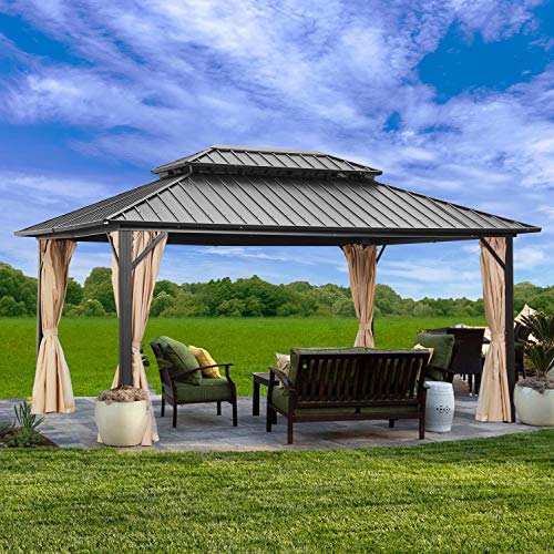 Outdoor Patio Hardtop Gazebo with Mosquito Netting,Galvanized Steel Double Roof Canopy Gazebo,Aluminum Frame for Patio,Garden,Backyard ,Lawn and Deck,Black(10'X12 with net and Curtain)