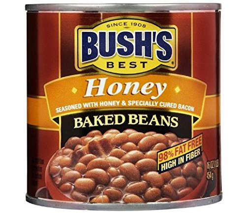 Bush's Best Baked Beans Seasoned with Honey & Bacon (Pack of 3) 16 oz Cans