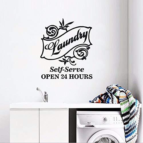 LLLYZZ nieuw design waskeuken wandsticker zelf dienen logo wandtattoo waskeuken decor openen 24 uur wand poster vinyl kunst 57 * 66 cm