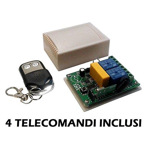 Module relais ontvanger 2 kanalen Ch 220 V 230 V 10 A + 4 afstandsbedieningen 433 MHz afstandsbediening poorten rolluiken lichten huis ontvanger relay
