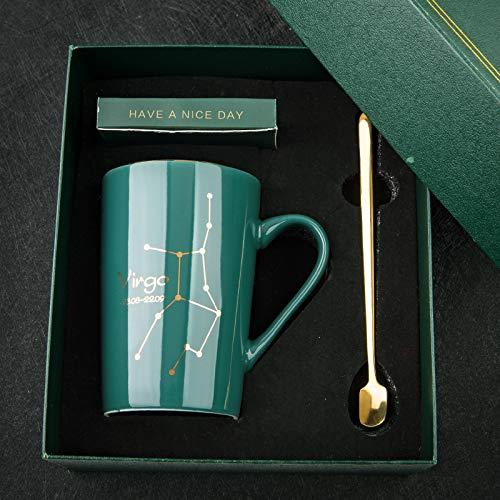 Constelación Taza de agua de cerámica Personalidad Con tapa Cuchara Taza de estudiante masculino y femenino Taza de café en casa Taza de pareja Taza Virgo Caja de regalo