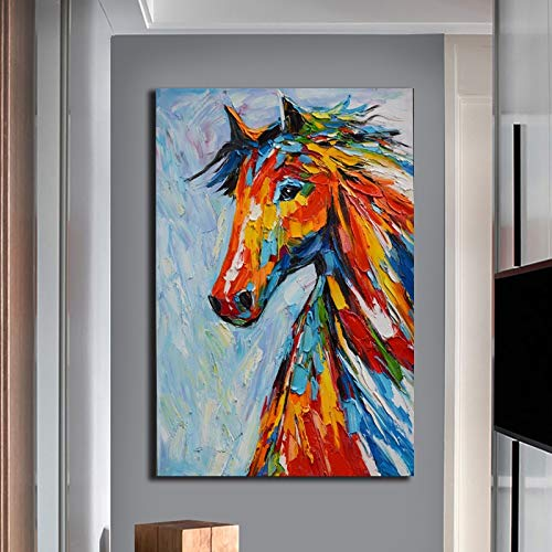 N / A Rahmenlose Malerei Wanddekoration des modernen Tierwohnzimmers auf Buntem Pferd, das LeinwandZZQ19195 40x60cm Malt