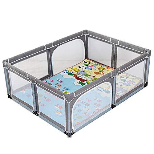 Laufstall, Baby-Laufgitter Mit Matratze Tragbare Spiel-Hof Baby-Spielkarten Sicherheits-Laufgitter Indoor-Kinder Spiel Zaun, 190 X 150 X 70 cm (Farbe : Gray)