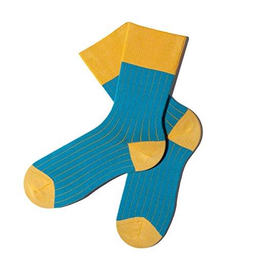 Bunte Socken - Rippenmuster - Lemon Drop - M (39-42) - GOTS zertifiziert - aus feinster Bio Baumwolle - Komfortbündchen