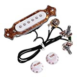 TraderPlus 1 sets Pre-wired 6-string Cigar Box Guitar Pickup with Volume & Tone for Electric Guitar (Brown)
