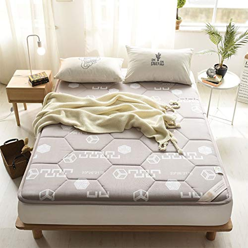 yangdan Colchón grueso de algodón resistente al voltaje, plegable, almohadilla de protección para dormir para estudiantes, dormitorio, tatami funda de cama (color gris, tamaño: 0,9 x 2 m)