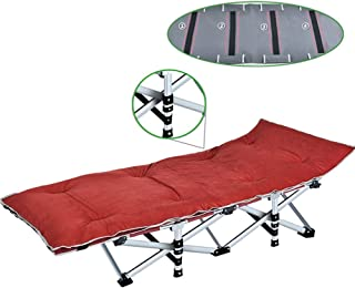 Recliner Chair Oversize Folding Camping Cot with Carry Bag, Portable and Lightweight Bed for Adults or Kids, Camping Home Office Sun Lounger, Support 400kg (Color : Red)
