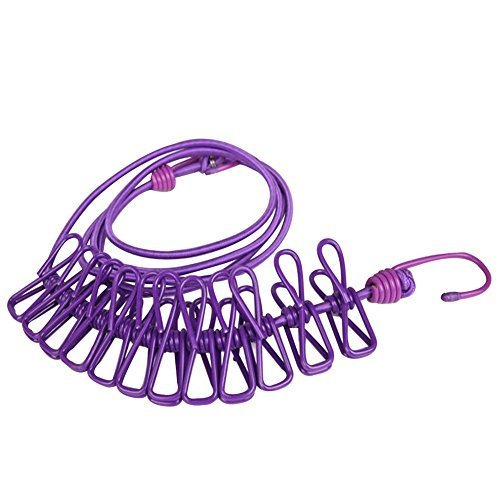 BINGONE Portable Travel Home Style Outdoor Windproof Clothesline with 12 pcs Clip (Purple2) by BINGONE