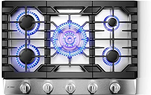 """FOTILE GLS30501 30"""" Stainless Steel 5-Burner Gas Cooktop, Tri-Ring 21,000 BTUs Center Burner with Flame Failure Protection Removable Grates and Installation/LP Kit"""