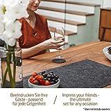 Miqio ® - Design Tischläufer aus Filz abwaschbar | Marken Label aus Echtleder | Tischband 150x40 cm | Skandinavische Deko - passend Tischsets, Platzsets, Tischdecken | dunkel grau - 5