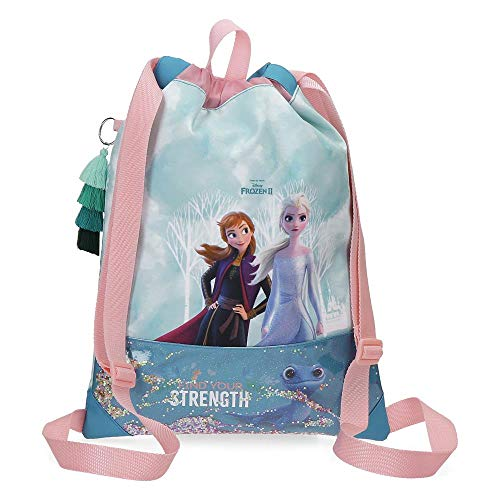 Mochila Saco Frozen Find Your Strenght, Azul, 30x40 cms
