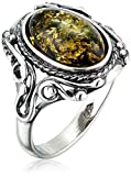 HolidayGiftShops Sterling Silver and Baltic Green Amber Ring Georgine- Size 6