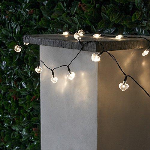 Festive Lights Guirlande Solaire 100 LED Cœur 10 Mètres (Blanc Chaud)