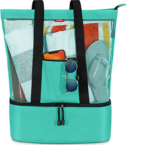 Odyseaco Mesh Beach Tote with Detachable Insulated Cooler