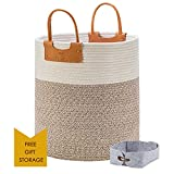 """Large Woven Storage Basket, Tall Rope Baskets for Blankets with Leather Handles, Decorative Clothes Hamper Basket for Living Room, Baby Kids Room Toy Baskets, Use for Sofa Throws Pillow 15x 18"""""""