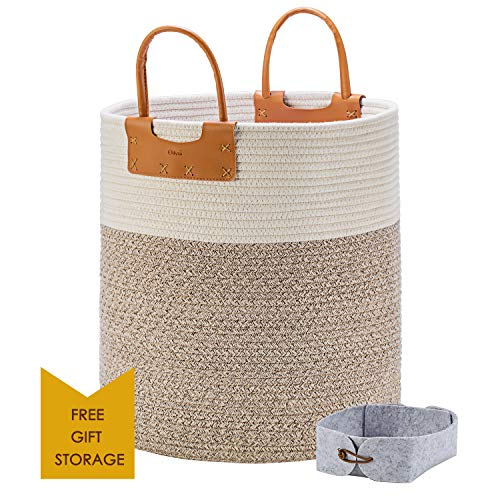 """Large Woven Storage Basket Tall Rope Baskets for Blankets with Leather Handles Decorative Clothes Hamper Basket for Living Room Baby Kids Room Toy Baskets Use for Sofa Throws Pillow 15x 18"""""""