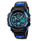 Watches,Kids Outdoors Waterproof Wristwatch,Multifunctional LED Digital Watch for Boys Girls (Blue)