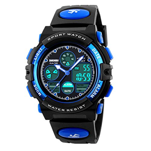 Watches,Kids Outdoors Waterproof Wristwatch,Multifunctional LED Digital Watch for Boys Girls (Blue)