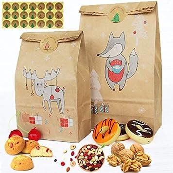 Kraft Gift Bags BESLIME- Bolsa de embalaje 24pcs Bolsas de Regalos 12 grandes 12 pequeñosCon 24 Redondas Pegatinas Ideal para Bodas, Galletas, dulces, papel de regalo pequeño