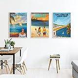 ZHJJD Martinica Hawaii Valencia Cuadros Poster de Viaje Vintage Idea de Regalo Impresiones en Lienzo Paisaje Arte de la Pared para la Decoracion de la Salon de Estar 40x60cmx3 Sin Marco