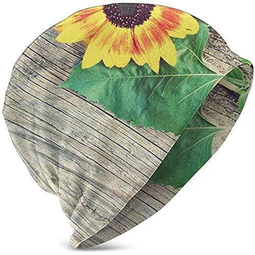 GodYo Zonnebloem op rustieke oude houten plank Comfortbal Soft Slouchy collectie Gebreide mutsen Skull Cap Winter Ski Baggy Hat Zwart