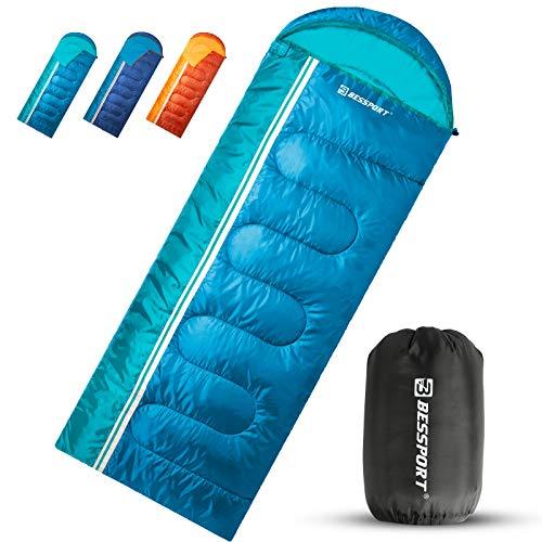Bessport Schlafsack Deckenschlafsäcke Leichtgewicht Warm丨3-4 Saison丨Geeignet für Camping Rucksackreisen und andere Outdoor-Sportarten Hat Wasserbeständigkeit