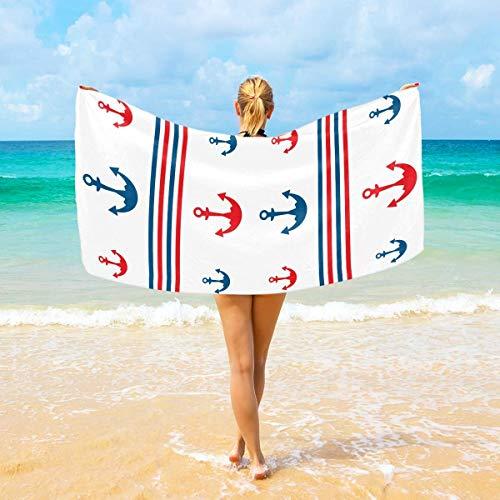 Jacklee Mikrofaser-Strandtücher Anker großes Reisehandtuch – Ultra saugstark, schnell trocknend, Fitness-Handtuch für Herren, Frauen und Kinder