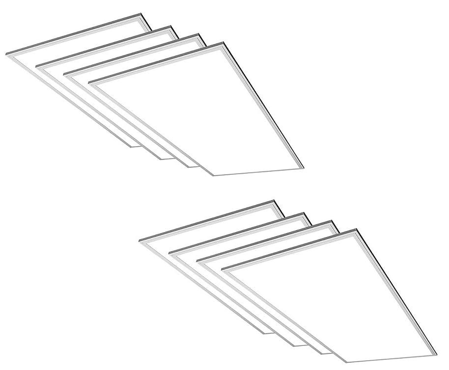 TCP 8 Pack 2x4 FT LED Flat Panel Light Fixture, 50W - 5000 Lumens, 4000K Cool White, 110V-277V, 0-10V Dimming