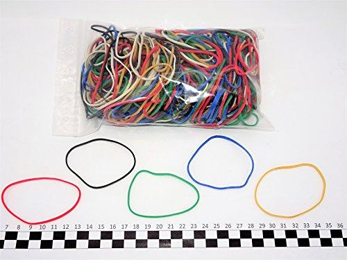 Progom - Gomas Elasticas - 80(ø50) mm x 1.7mm - colores mezclados (rojo,blanco,natural,verde,azul,negro) - bolsa de 200 piezas