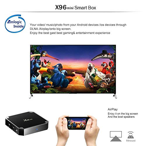 X96 Mini Smart TV Box Android 9.0 Amlogic S905W Quad Core 2.4GHz WiFi 1G8G/2G16G WiFi 4K HD Set-Top Box Media Player 2GB+16GB schwarz