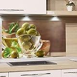 GRAZDesign Spritzschutz Küche Herd, Oliven Grün Braun, Küchenrückwand aus Echtglas / 60x40cm