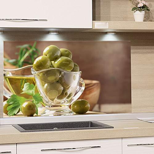 GRAZDesign Spritzschutz Küche Herd, Oliven Grün Braun, Küchenrückwand aus Echtglas / 60x60cm