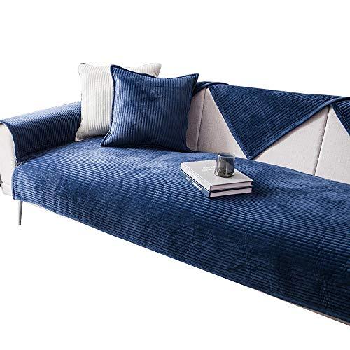 HXTSWGS Sofá de Felpa Toalla Funda de sofá Cojín Funda de sofá de Esquina para Sala de Estar Fundas Sofás con Chaise Longue-Blue_W70xL70cm