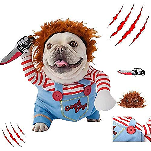 MAQIANFAA Dog Halloween Costumes Unique Upright Samurai Design Adjustable Deadly Doll Dog Costume Warm Hoodies Fleece Jacket with Wig and Foam Knife for Small Medium Dogs Apparel Accessories,m