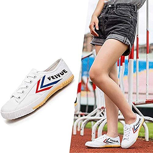 HaoLin Zapatos Antideslizantes De Moda De Artes Marciales Zapatillas De Deporte Unisex Tai-chi Adultos Niños Zapatos Clásicos De Kung Fu Zapatillas De Lona Qigong,White-36