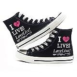 NXMRN Love Live Zapatos De Lona Negros Impresos para Hombre Todos Los Zapatos Vulcanizados Zapatos De Skate Casuales para Mujer Zapatillas De Deporte-40