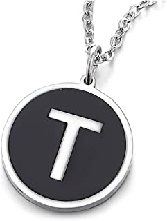 Womens Mens Steel Silver Black Name Initial Alphabet Letter A to Z Circle Pendant Necklace, 18 inch Chain