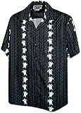 Turtle Panel Men's Aloha Shirts Gray L (410-3832)