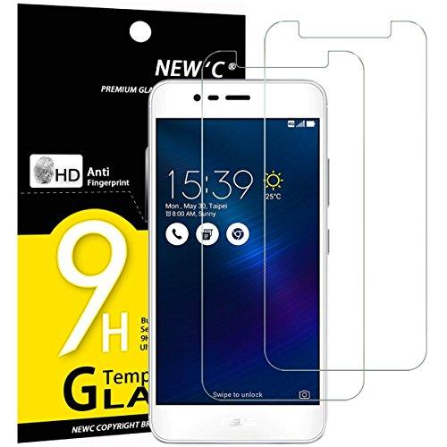 NEW'C Lot de 2, Verre Trempé pour ASUS ZenFone 3 Max (ZC520TL), Film Protection écran - Anti Rayures - sans Bulles d'air -Ultra Résistant (0,33mm HD Ultra Transparent) Dureté 9H Glass