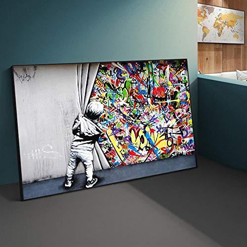 LiangNiInc Street Art Banksy Graffiti Wandkunst hinter dem Vorhang Leinwandbilder Wandkunst Bilder für Wohnkultur Bild 40X80cm Mit Rahmen