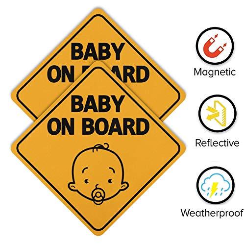 Hyber&Cara Baby an Bord Schild für Auto, magnetisches Baby im Auto Aufkleber, reflektierend in der Nacht, wasserdicht, gelb, 2 Stück