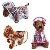 Xiuyer 3pcs Chubasqueros Perros Transparente Capucha Impermeable EVA Plastico Chubasqueros para Perros Pequeños Medianos