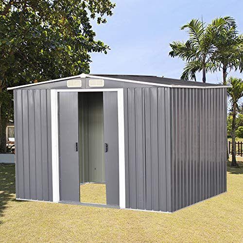 Outdoor Storage Shed, Large 8 X 10 Metal Garden Shed Outdoor Storage Tool Box Apex Roof Free Base for Backyard Garden House with Lockable Sliding Door (Gray)