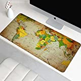 PEZSCF Alfombrilla de Escritorio Alfombrilla de ratón Protector de Escritorio, 800x300 mm XXL Base de Goma Antideslizante Mapa del Mundo de Color para Oficina hogar Gamers PC y Portátil