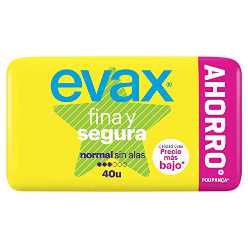 Evax Fina Y Segura Normal Compresas Superabsobentes, Neutralizan El Olor, Finas, Para La Regla 40 Unidades