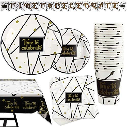 Kompanion 102-teiliges Schwarz und Gold Party Set mit Banner, Tellern, Tassen, Servietten, Tischtüchern, für 25 Personen