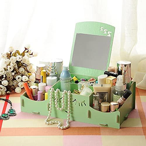 WZhen Creative Diy - Caja de almacenamiento cosmética de madera, contenedor de almacenamiento de escritorio con espejo organizador de escritorio - Blanco