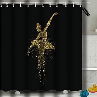 Shower Curtain Waterproof Classic Ballet Dancer Gold Glitter Splash Golden Ballerina Woman Dancing Bathroom Shower Curtain Set with 2293 Hooks 60