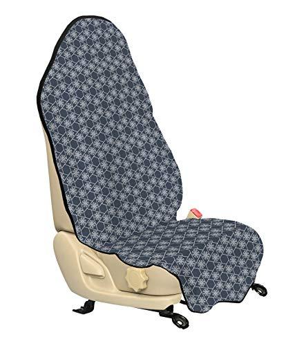 ABAKUHAUS Japans Beschermhoes voor autostoelen, Eastern Japanse Tegel, met Antislip Achterkant, Universele Maat, 75 x 145 cm, Charcoal Grey Dark Blue