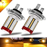 BOODLIED H7 LED Fog Light Bulbs 66-EX 2016 SMD Chips with Lens Projector Motorcycle LED Headlight Bulbs DRL.Amber/Yellow.2-Pack.